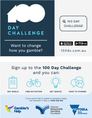 Image of wallet card front with text: 100 Day Challenge, Want to change how you gamble?, 100dc.com.au, App store, Google play. Image of wallet card back: Sign up to the 100 Day Challenge and you can set goals, find activities, get advice, chat to others