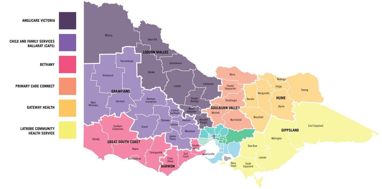 Map of regional Victoria showing seven Gambler's Help catchments (excluding metropolitan Melbourne): Loddon Mallee, Grampians, Great South Coast, Barwon, Goulburn Valley, Hume, Gippsland