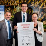 Serge Sardo, Brendon Gale and Jane Garrett with a signed responsible gambling charter