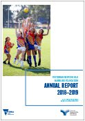 Publication cover with photo of children jumping for a footy and the text: Victorian Responsible Gambling Foundation Annual Report 2018–2019, A Victoria free from gambling-related harm.