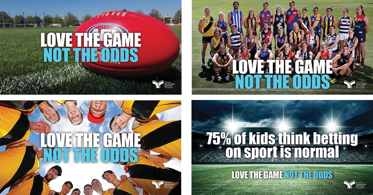 Love the Game theme round social media collage
