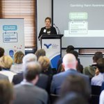 Louise Glanville speaking at the launch of the 2018 Gambling Harm Awareness Week