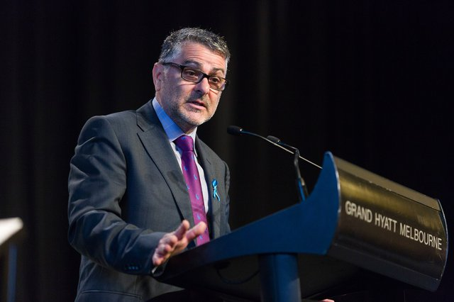Serge Sardo speaking at the Many Ways to Help Conference which was held at Grand Hyatt Melbourne