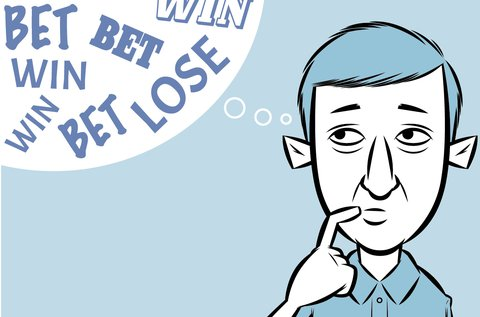 Illustration of a man with a thought bubble with the words 'bet', 'win' and 'lose' floating around in it.
